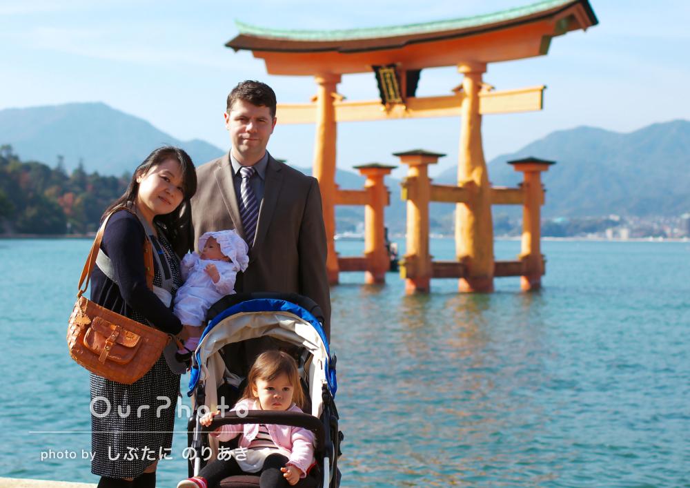 混雑する神社でも良い写真スポットで!お宮参りの撮影