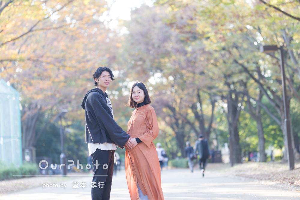 「あたたかな雰囲気のお写真」秋らしいマタニティフォトの撮影