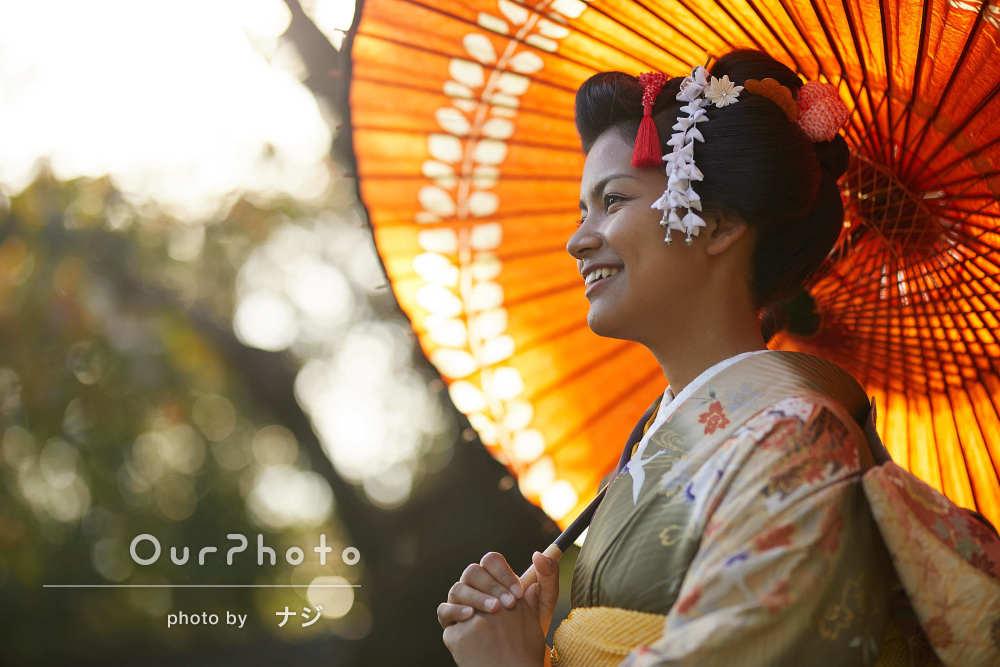光と影をうまく使って美しさと上品さが引き立つ成人式の前撮り写真