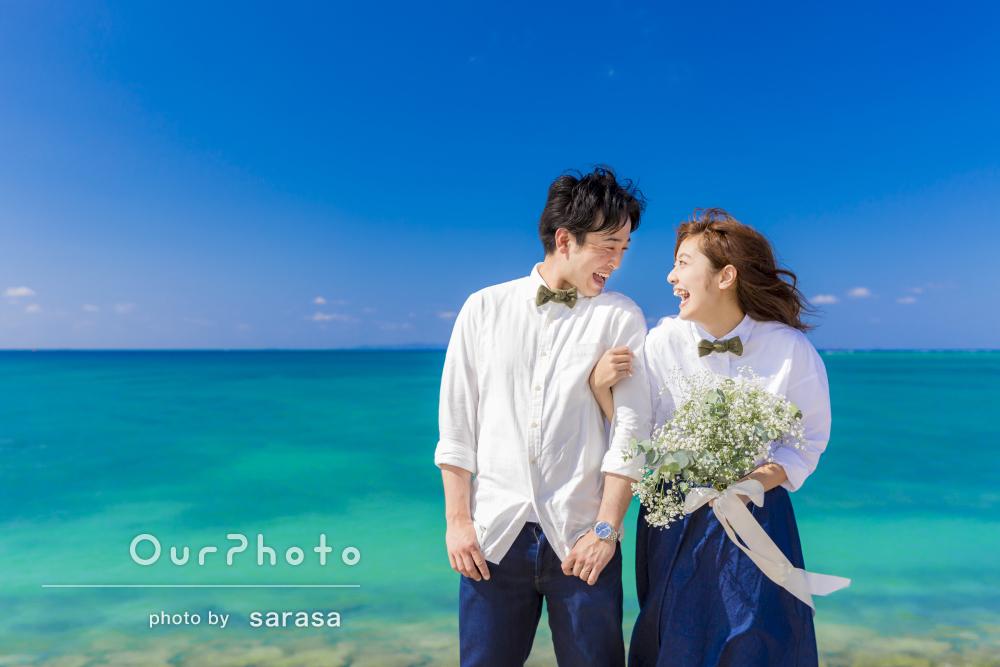 結婚式用に沖縄のビーチで!エンゲージメントフォトの撮影