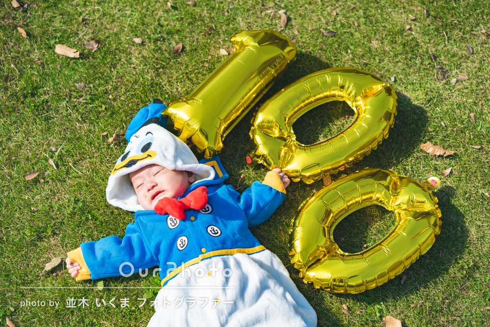 「息子も大喜び」百日祝いの記念に!祖父母様も一緒に撮影