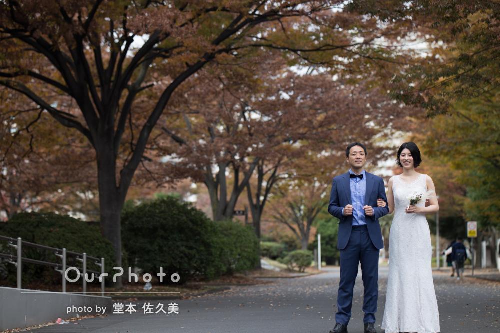 想い出の母校で!結婚式演出用のウェディング前撮り