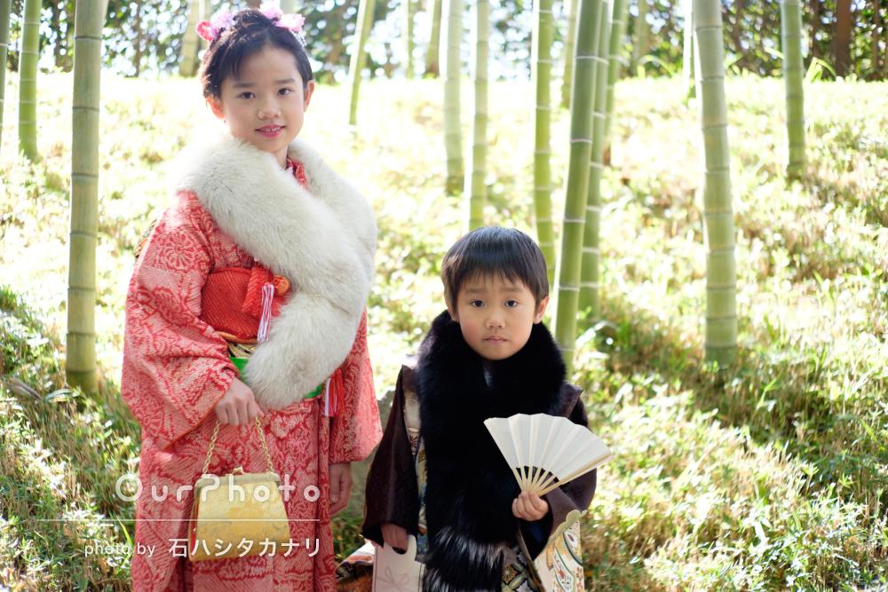 「お願いしてよかった」庭園にて姉弟の七五三写真の出張撮影