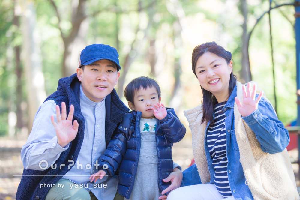 元気いっぱい幸せいっぱい!冬の家族写真の撮影
