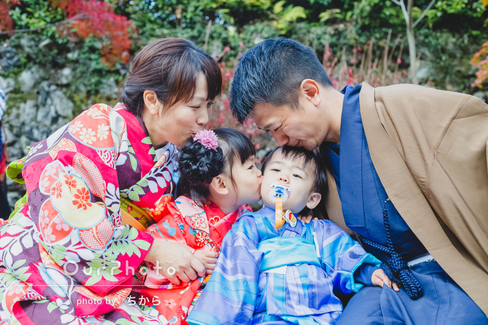 着物をレンタルして京都を散策しながら家族写真の出張撮影