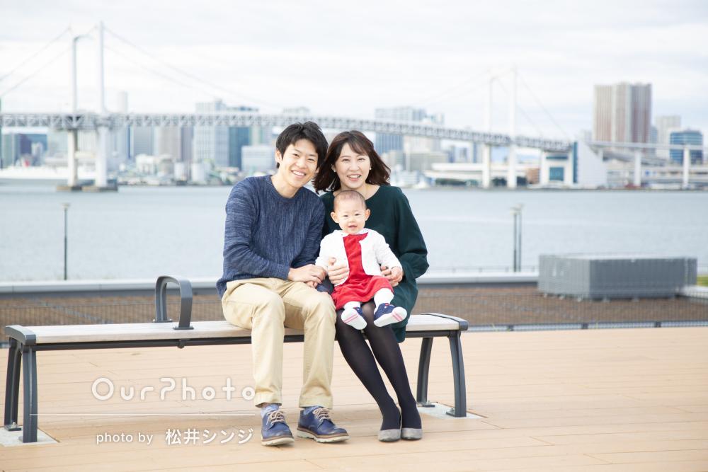 「娘の楽しそうな表情を撮っていただけた」港街で1歳記念の家族写真