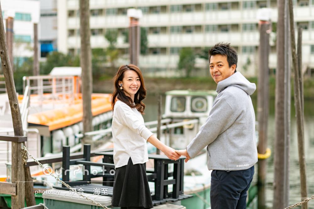 運河をバックにほっこりする結婚記念写真を撮りたい!カップルフォト
