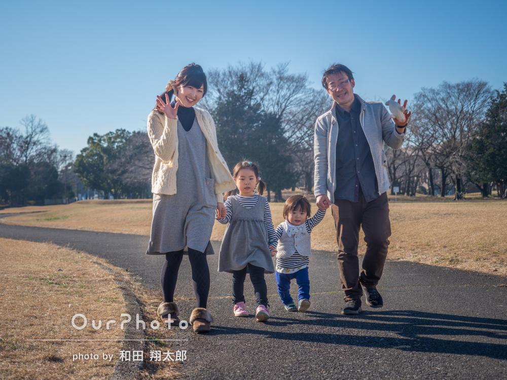 「とても楽しい撮影時間」リンクコーデで家族写真の撮影