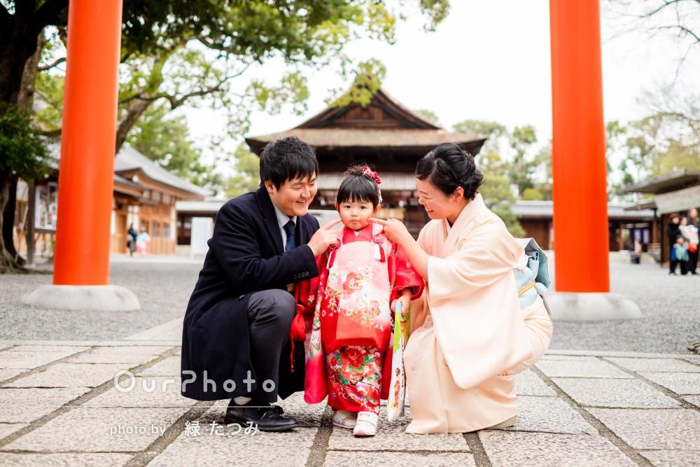 「とても丁寧」「優しい雰囲気」神社と庭園で3歳七五三の記念撮影