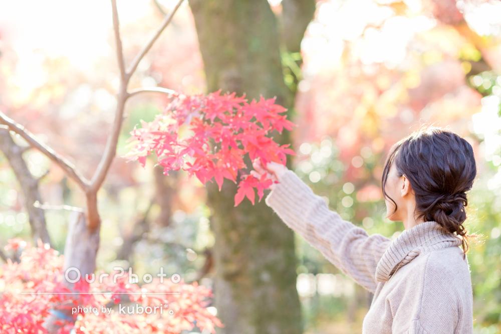 紅葉が美しい!温かい雰囲気のプロフィール写真の撮影