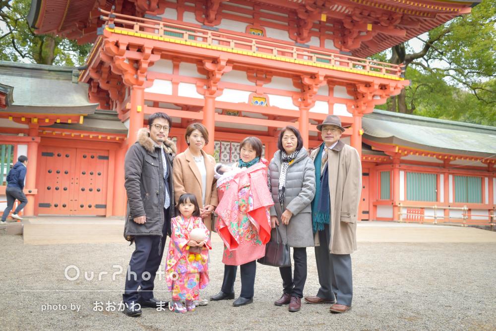 「両家祖父母と次女のお宮参り写真を撮ってほしい」初宮詣の記念撮影