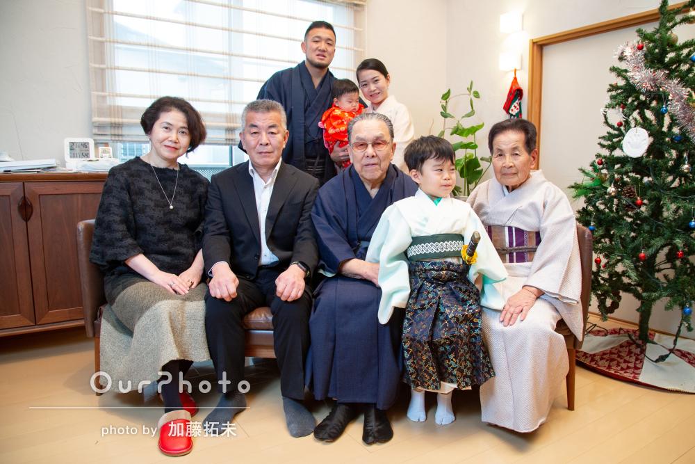 米寿のお祝いに!ご自宅で着物を着て4世代の家族写真を撮影