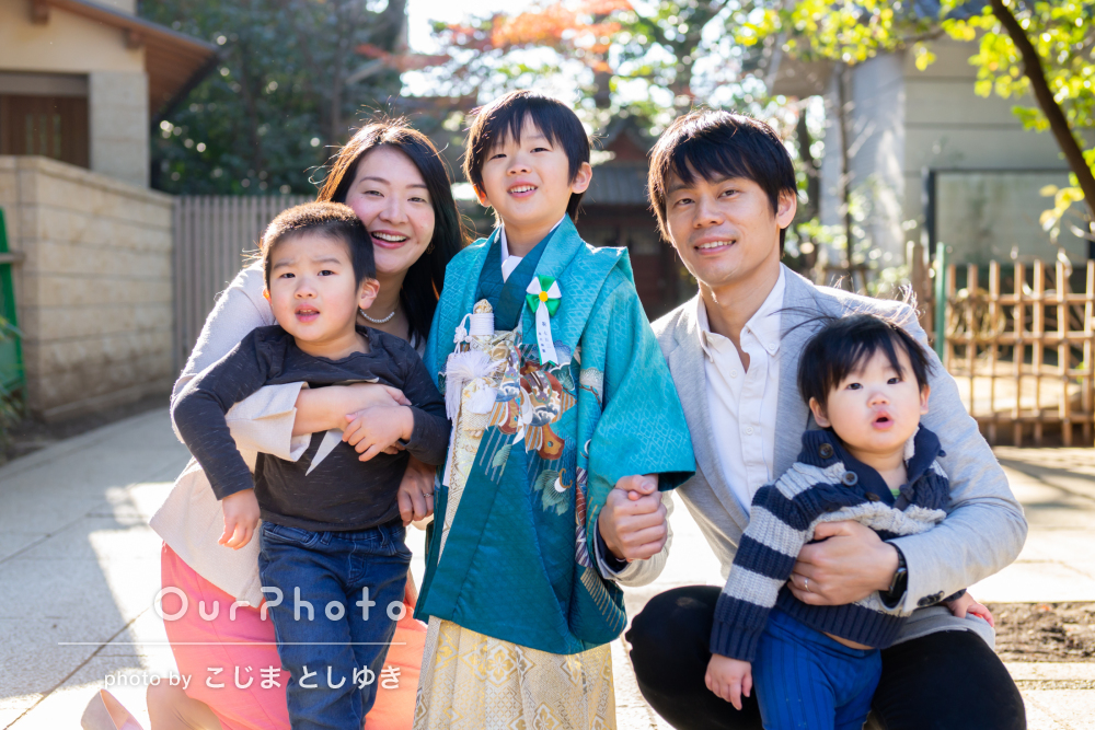 「子どもたちを楽しませながら撮影」七五三で家族写真