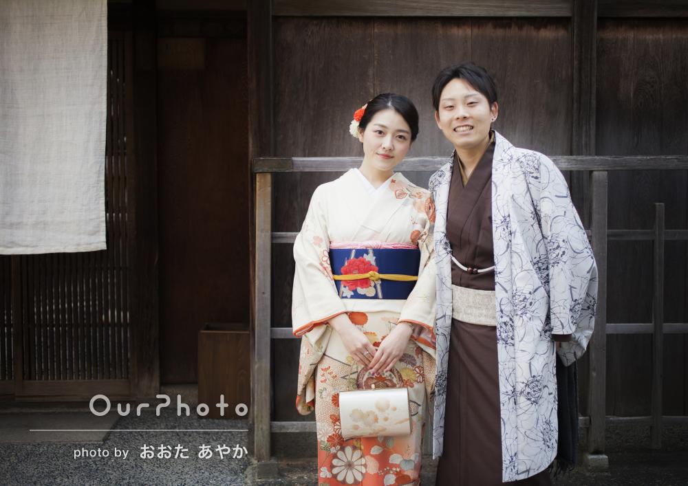 「仕上がりもとても素敵」京都にて着物カップルの出張撮影