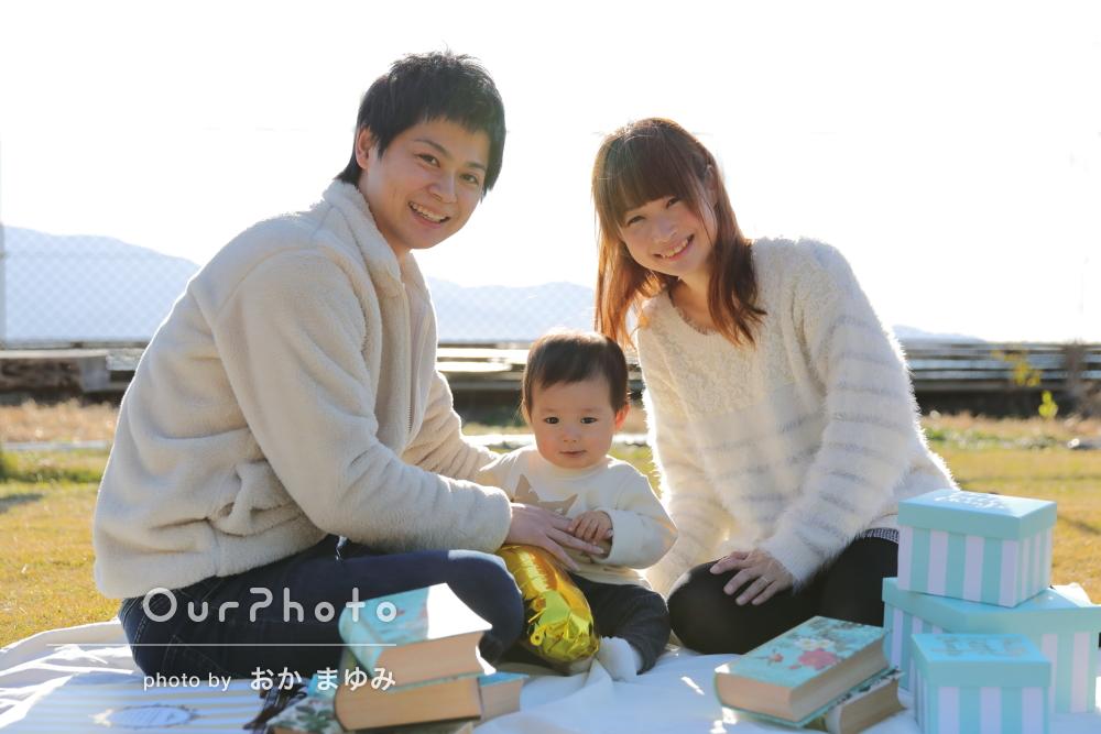 1歳の誕生日記念に「たくさん笑顔の写真」成長の記録に家族写真の撮影