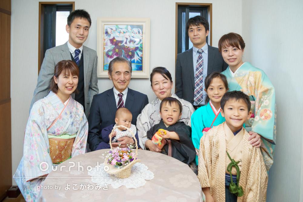 「丁寧な対応ありがとうございました」親戚一同大集合の和装で家族写真