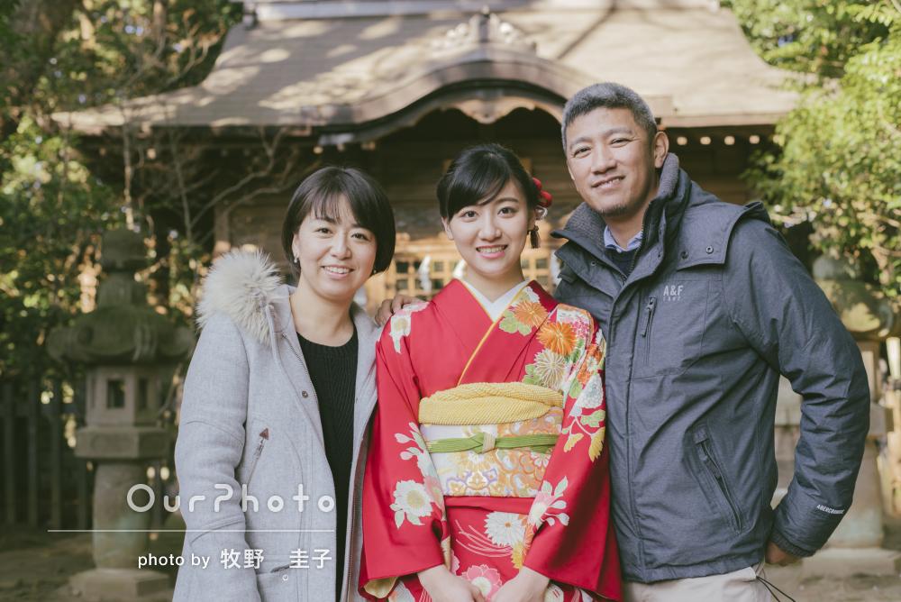 「20歳の良い記念」成人式後に家族写真の出張撮影
