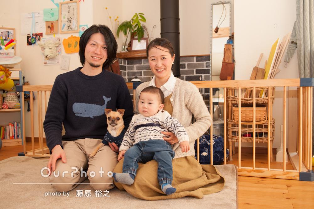 初誕生日のお祝いに!ご自宅で笑顔あふれる家族写真の撮影