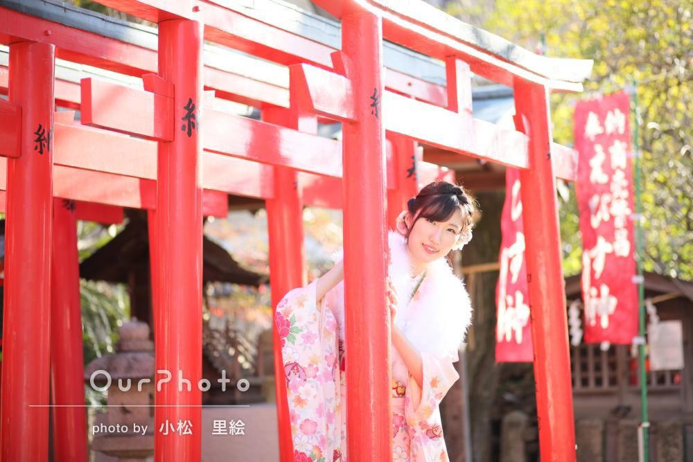 「最高の成人式日和でした」神社で成人式当日の記念写真の撮影