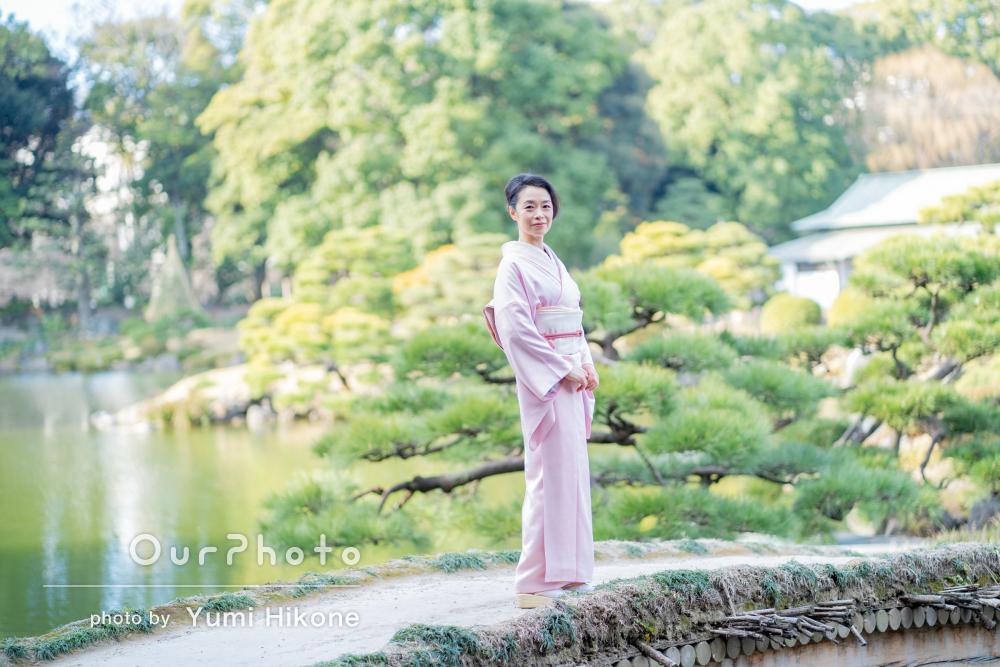 日本庭園で上品に。着物での優しい雰囲気の女性プロフィール写真撮影