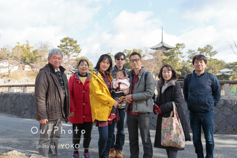 「様々なロケーションでたくさん写真」観光地での家族写真の撮影