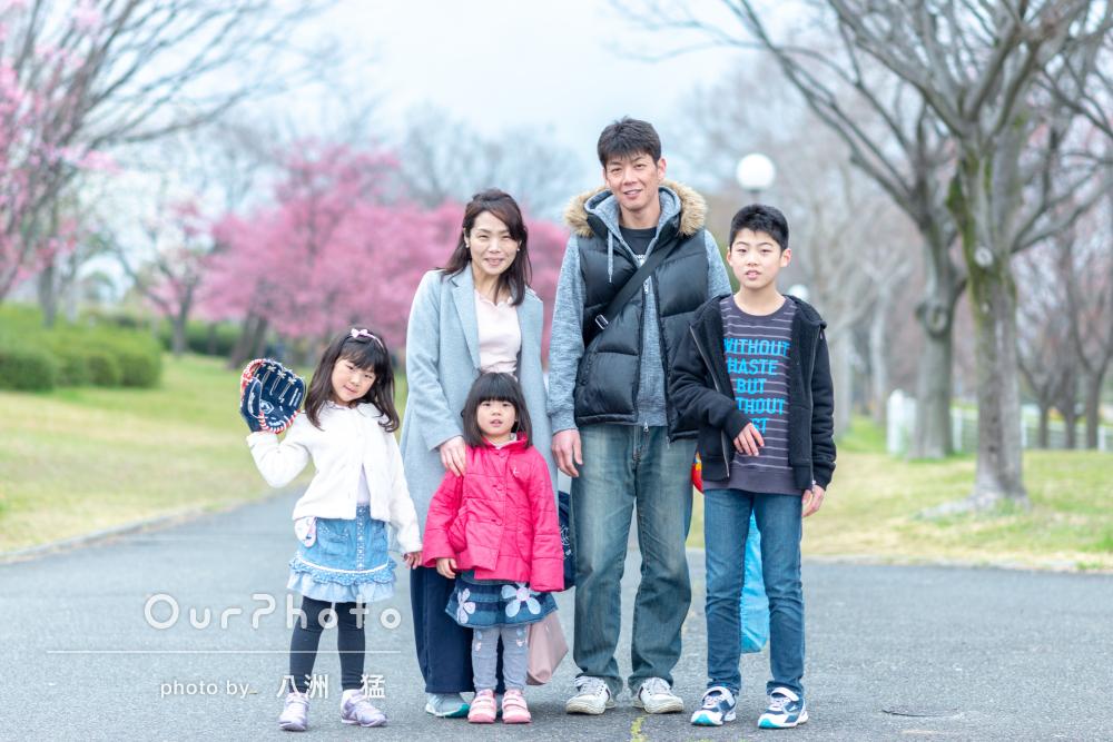 雨でも!桜と一緒に「楽しく」家族写真の撮影