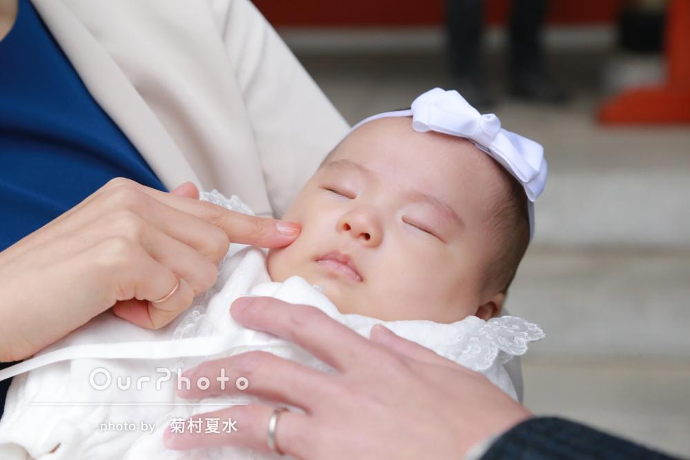 「たくさん良い写真」春の暖かさの中でお宮参りの記念写真