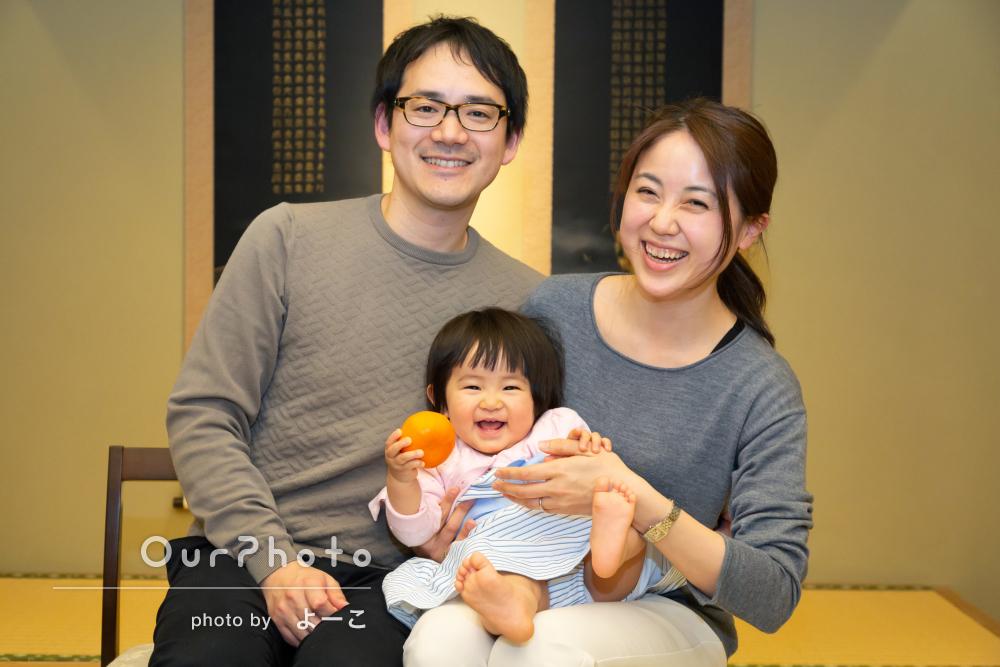 「将来子供に見せるのが楽しみです」1歳記念に家族写真の撮影