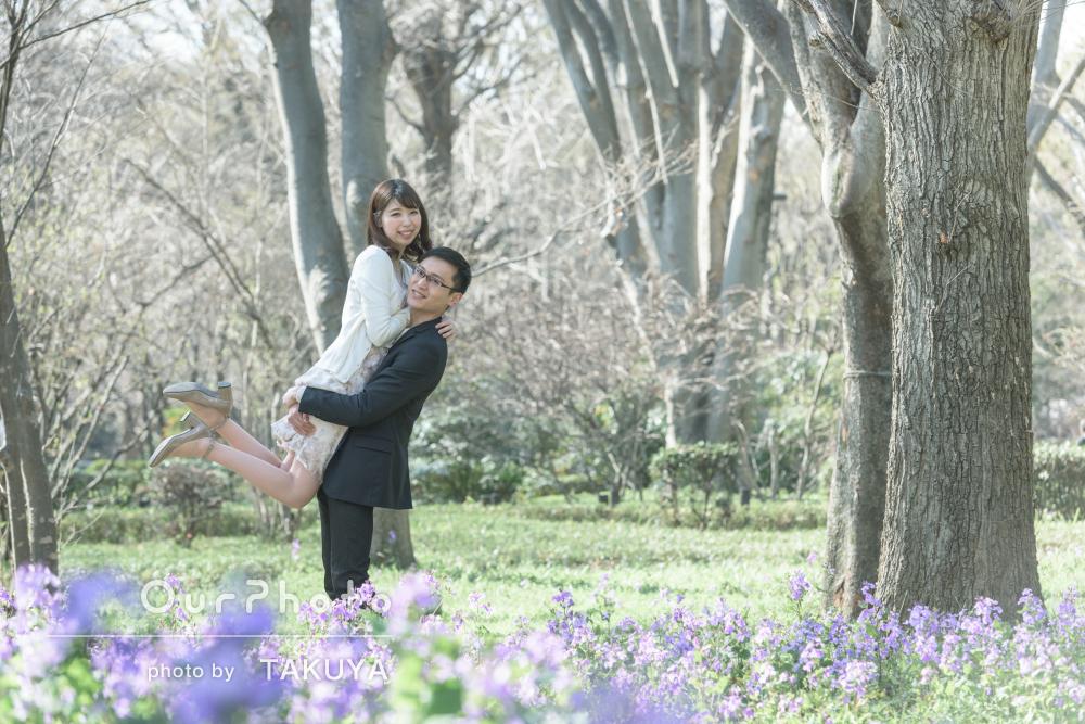 「普段の雰囲気で良い記念に」自然溢れる公園でカップルフォト