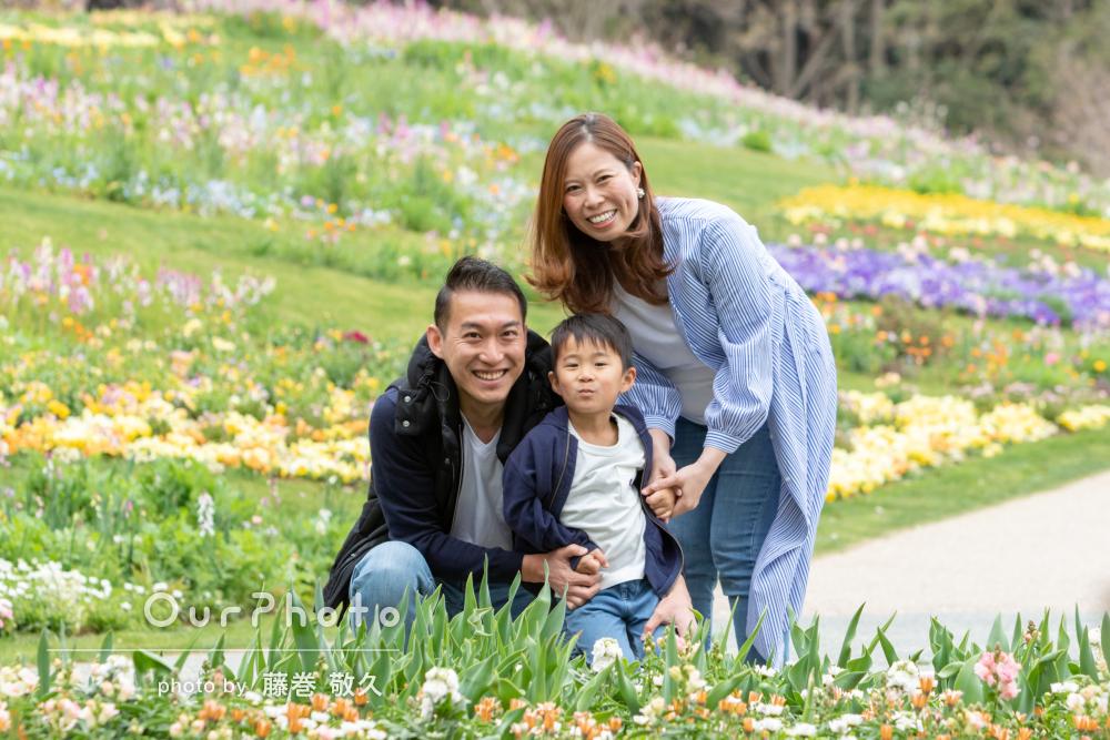 華やかな公園で笑顔満開!家族写真の撮影
