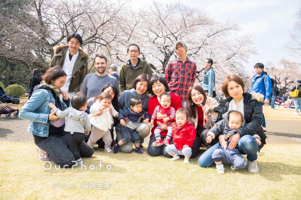 桜の下1歳7人大集合!成長が楽しみになる友フォトの撮影