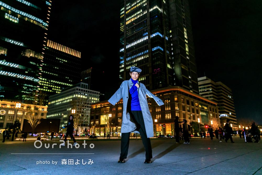 「撮影頼んで本当に良かった」夜の街中でプロフィール写真の撮影