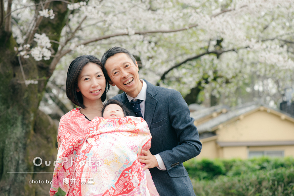 「桜の花もお着物もとても綺麗に撮っていただきました」お宮参りの撮影