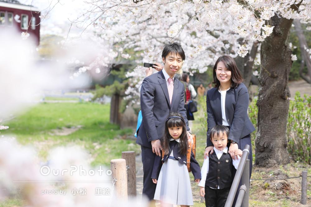 桜も満開!笑顔もいっぱい!入学祝いの家族写真の撮影