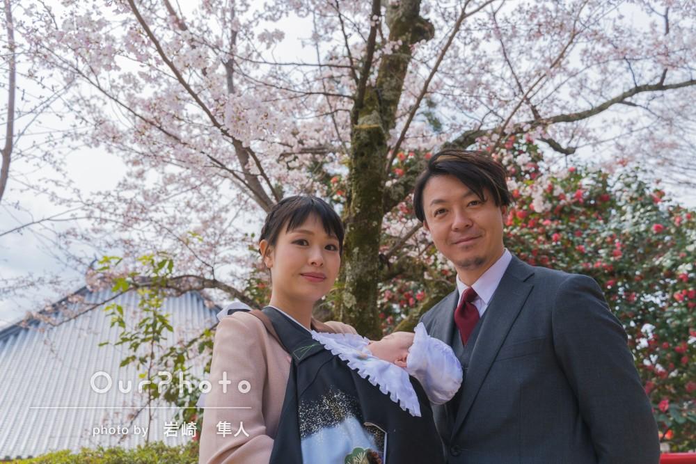 「素敵な写真をありがとうございました」桜が美しいお宮参りの撮影