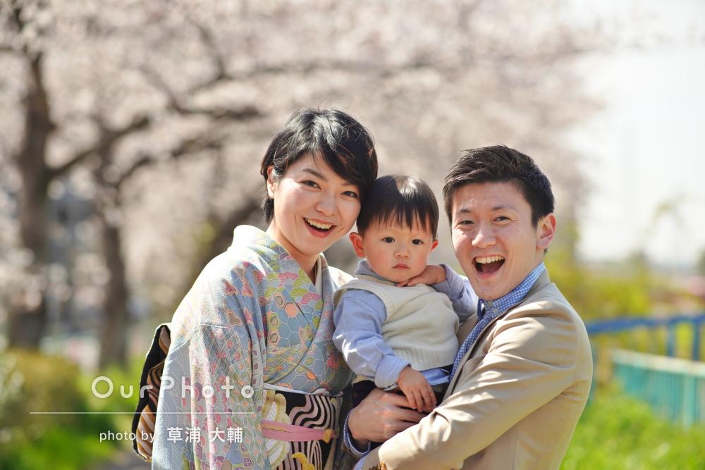「とても素敵な写真を撮って頂けました」満開の桜並木で家族写真の撮影