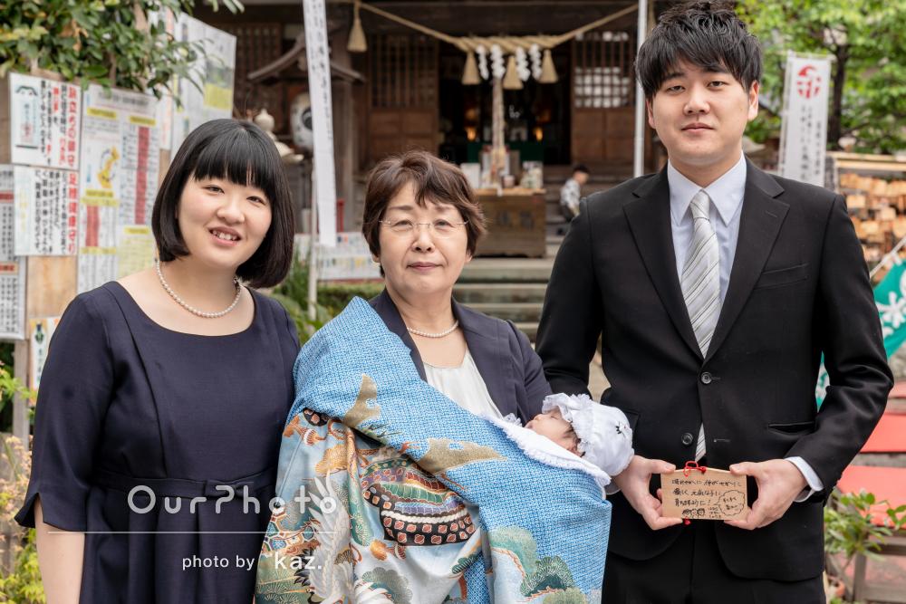 「大切な1日を思い返す素敵な写真」お宮参りの記念撮影