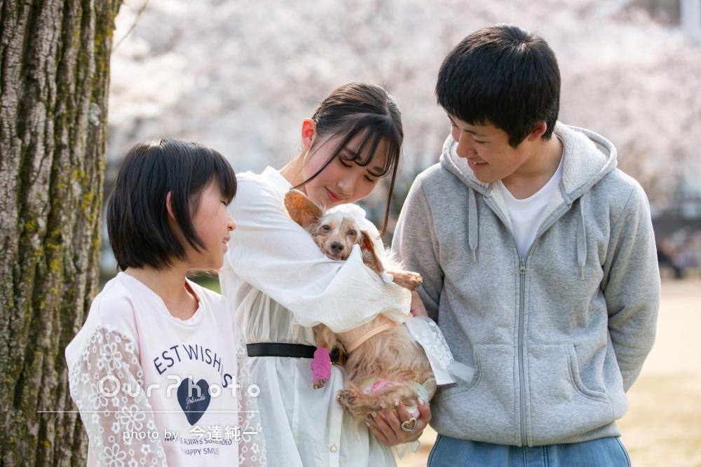 「初めて利用したけれど最高でした」桜の中ペットと一緒に家族写真
