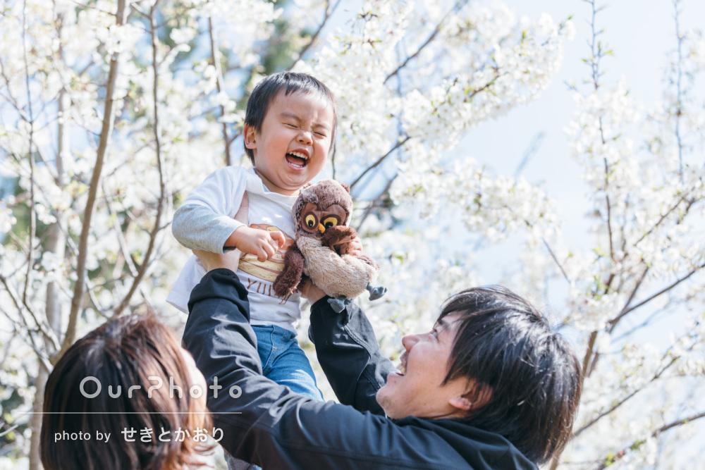 「瞬間の良い表情を撮っていただきました」春の家族写真の撮影