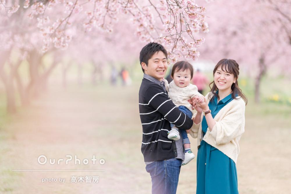 「子どものことを気遣ってくれました」桜とともに家族写真の撮影