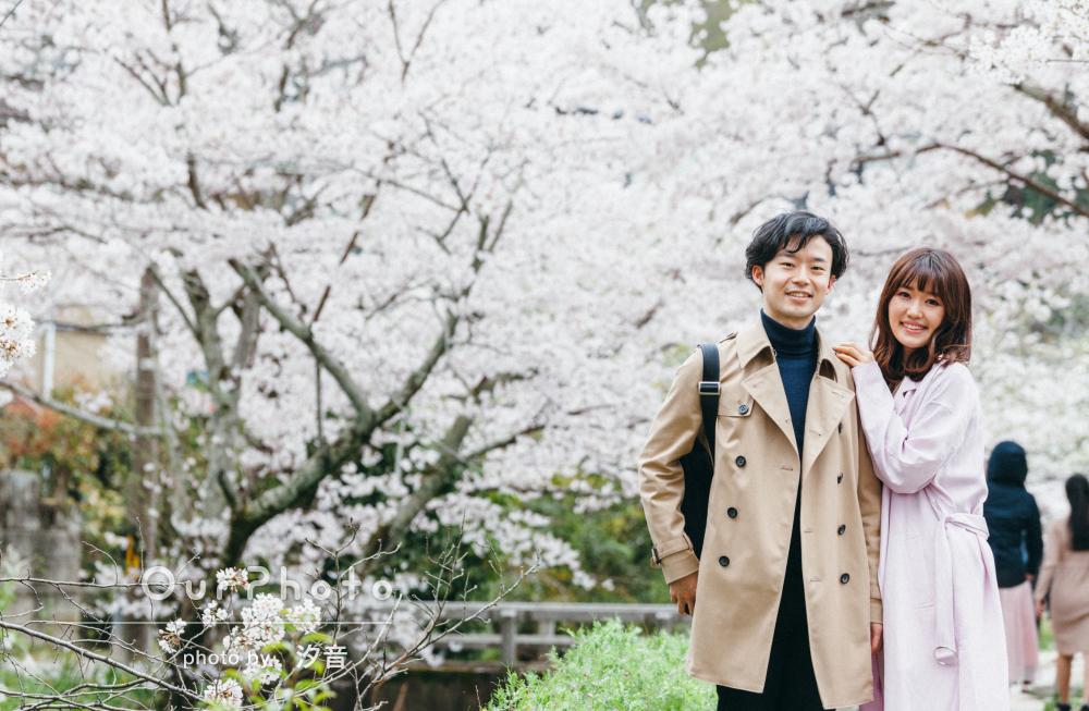 「素敵な写真をありがとうございました」桜咲く京都でカップルフォト