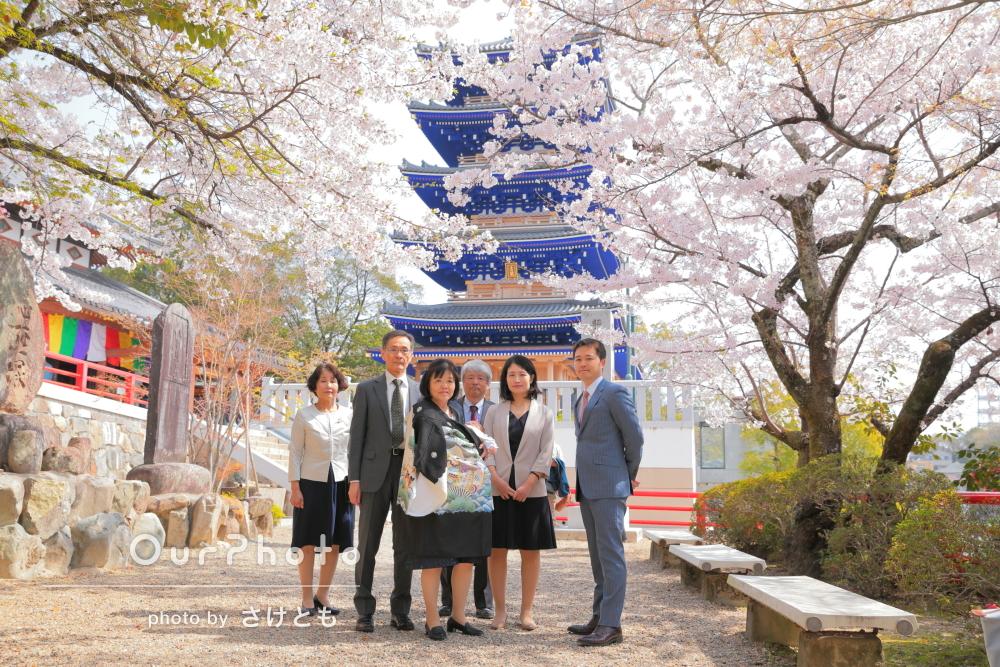 「素敵なお写真ありがとうございました」桜満開のお宮参りの撮影