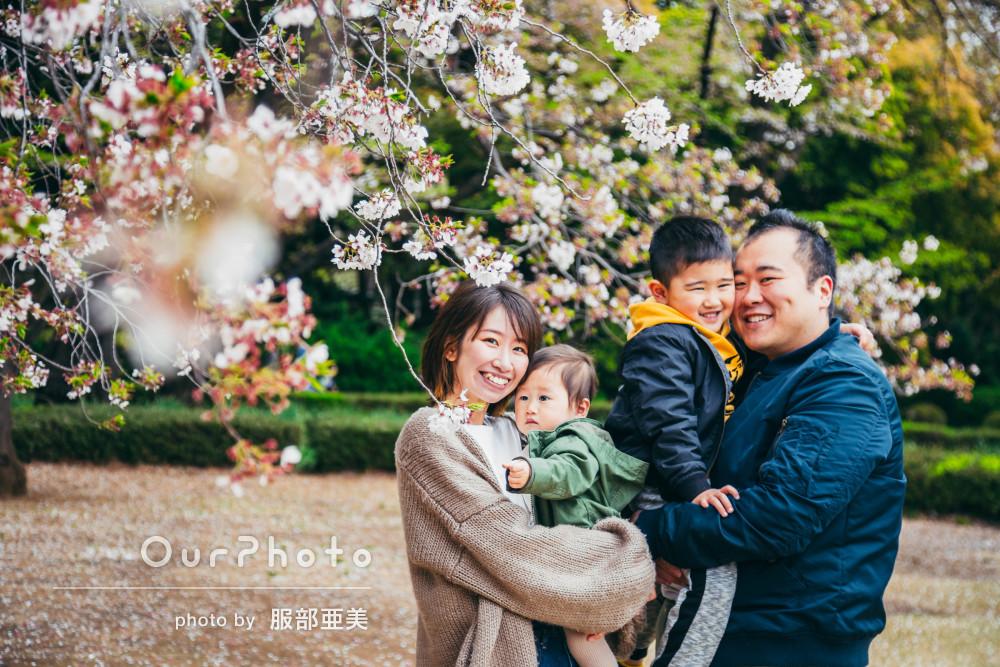 スムーズで丁寧な対応が安心!桜と一緒に家族写真の撮影