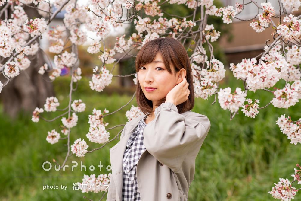 「とても楽しい時間」桜と一緒に穏やかなプロフィール写真