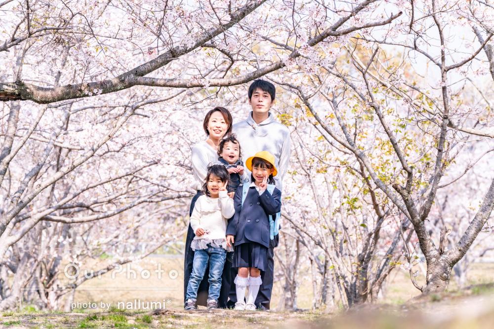 「家族みんな大満足しています」入学記念に春の家族写真の撮影