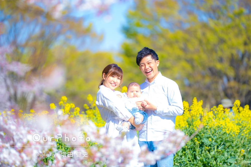 素敵な雰囲気で終始楽しく!桜と菜の花に包まれた家族写真の撮影