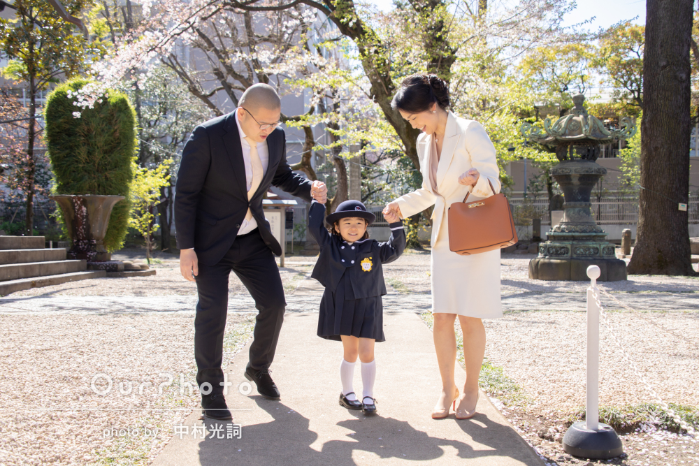 「思い出に残る写真をありがとうございました」入園記念の家族写真の撮影