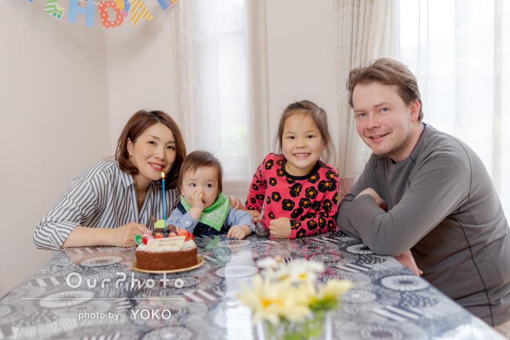 「緊張もなくリラックスして日常の姿で撮影」1歳の誕生日記念に家族写真