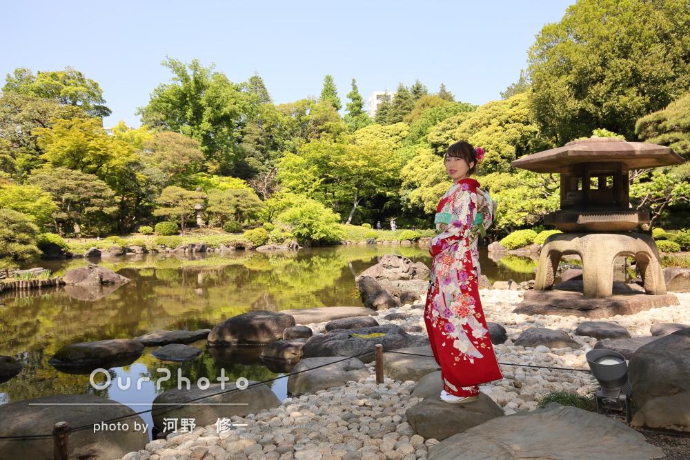 しっとりと落ち着いた雰囲気で!日本庭園での成人式後撮り