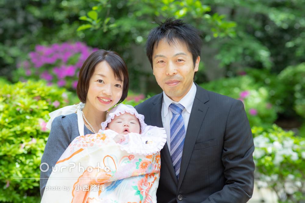 「家族全員の幸せそうな笑顔に皆で大喜び」春のお宮参り撮影